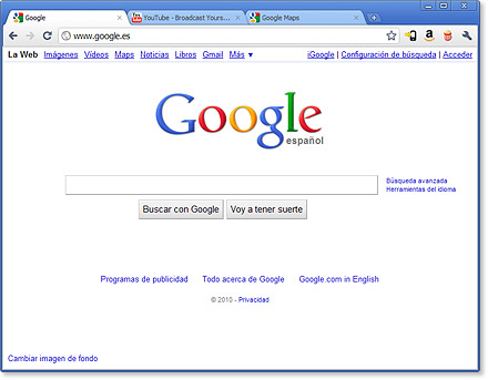 Pantalla de Google Chrome 10