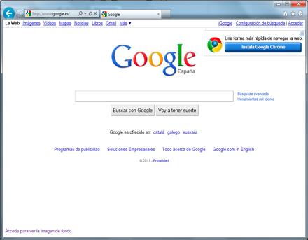 Pantalla de Internet Explorer 9